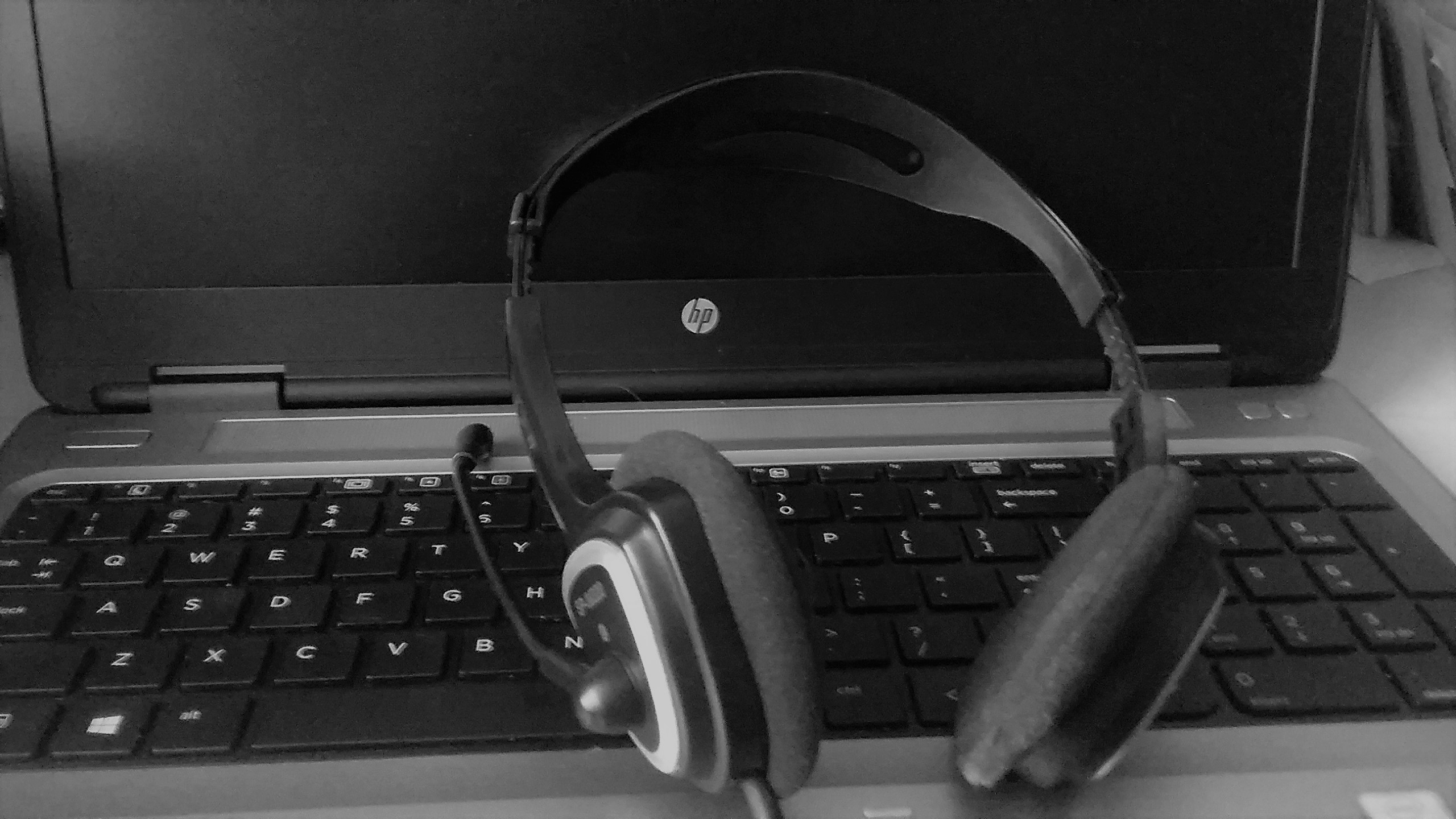 laptop and headphones